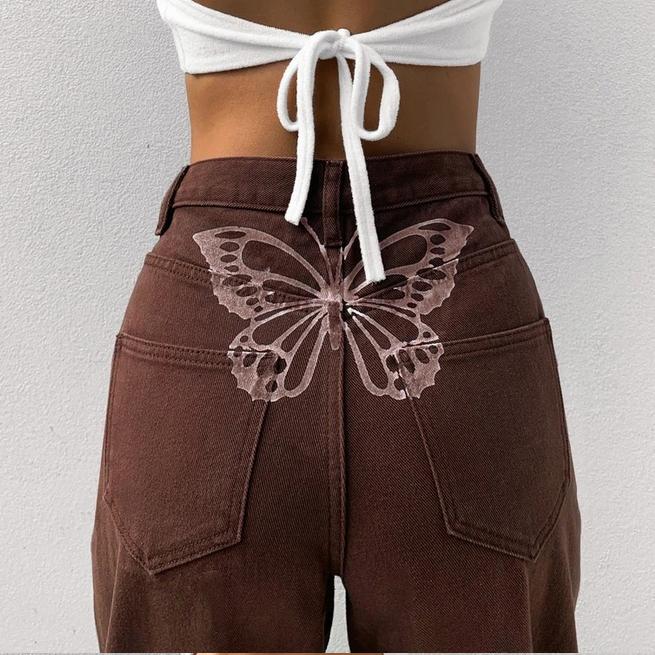 2021 Nieuwe Vrouwen Mode Hoge Taille Print Jeans Dames Casual Stijlvolle Broek Outfits Voor Winkelen Dagelijkse Slijtage